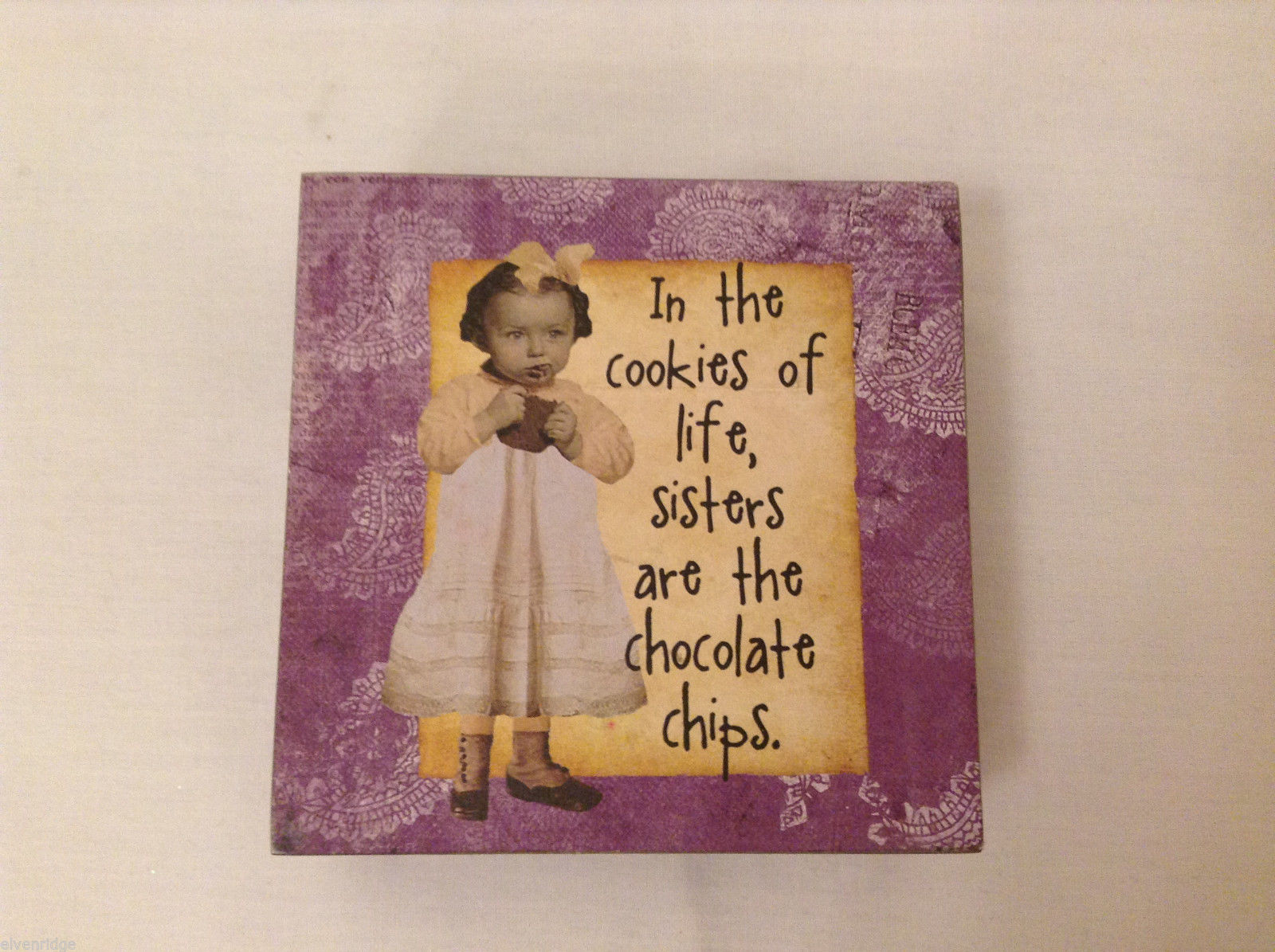 Wooden Pink/Purple Box Sign IN THE COOKIES OF LIFE SISTERS... Gift Decor