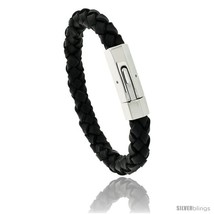 Length 8.5 - Stainless Steel Leather Braid Bracelet Color Black 3/8 in  - $33.98