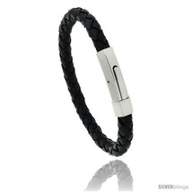 Length 7.5 - Stainless Steel Leather Braid Bracelet Color Black, 5/16 in  - $26.90