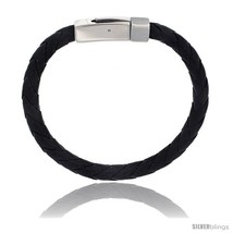 Stainless Steel 7 mm Leather Braid Bracelet Color Black 8 1/2 in  - $15.69