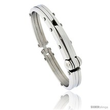 Gent's Stainless Steel Bangle Bracelet, 1/2 in wide, 8 1/2 in long -Style  - $36.78