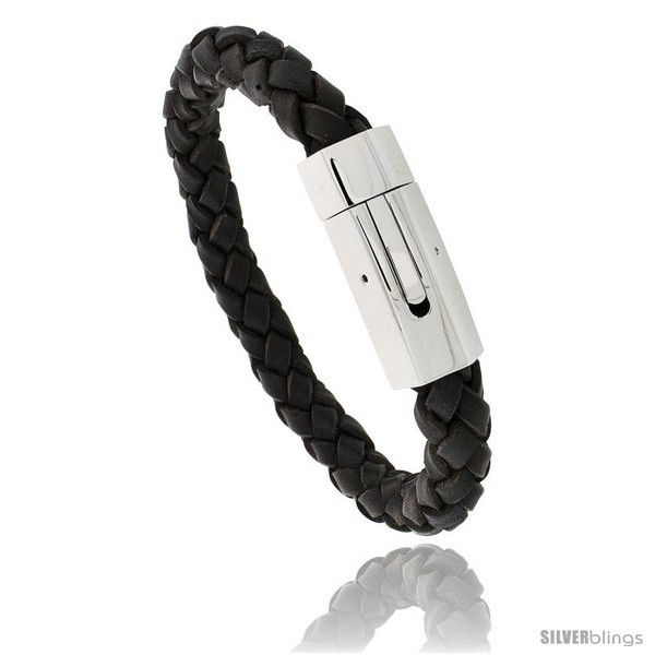 Primary image for Stainless Steel & Braided Brown Leather Bracelet 3/8 in wide, 8