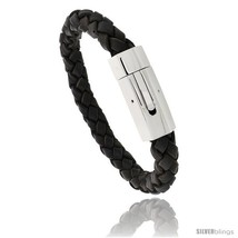 Stainless Steel & Braided Brown Leather Bracelet 3/8 in wide, 8  - $34.02