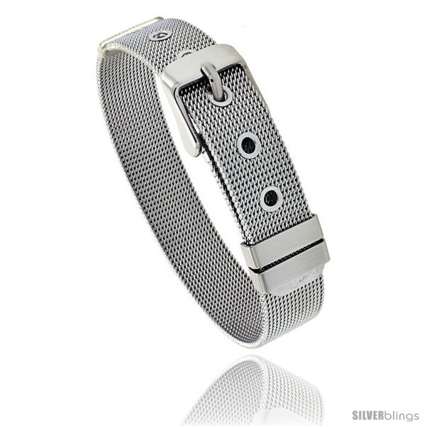 Primary image for Stainless Steel Belt Buckle Mesh Bracelet, 1/2 in wide, Adjustable 6 in - 7.5