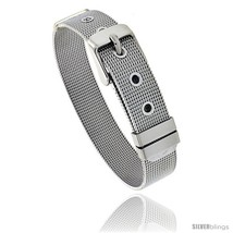 Stainless Steel Belt Buckle Mesh Bracelet, 1/2 in wide, Adjustable 6 in - 7.5  - $15.81