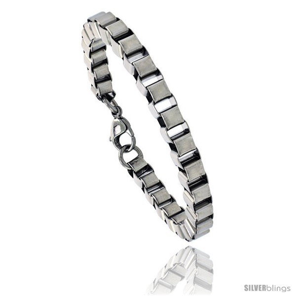 Primary image for Stainless Steel Box Chain Link Bracelet, 1/4 in wide, 7