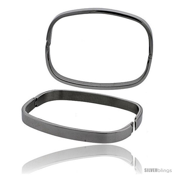 Primary image for Stainless Steel Oval Bangle Bracelet for Women, 7 in -Style