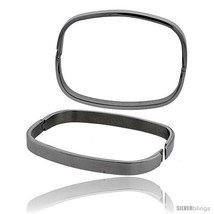 Stainless Steel Oval Bangle Bracelet for Women, 7 in -Style  - $21.93