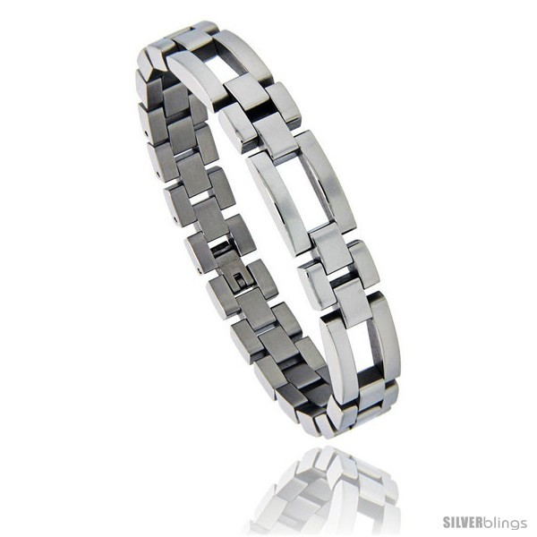 Primary image for Stainless Steel Polished Watch Band Style Bracelet, 1/2 in wide, 8.25