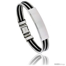 Solid Stainless Steel Cable and Rubber Bracelet, 8 in  - $14.70