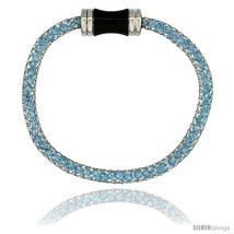 Stainless Steel Blue Topaz Crystal Cage Bracelet Magnetic-clasp 7.5 in  - £9.72 GBP