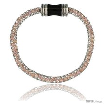 Stainless Steel Rose Crystal Cage Bracelet Magnetic-clasp 7.5 in  - $13.67