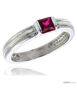 Terling silver cubic zirconia solitaire ring garnet color princess cut flawless finish thumbtall
