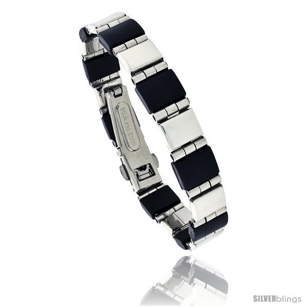 Primary image for Stainless Steel and Rubber Bracelet, 8 in long -Style