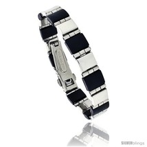 Stainless Steel and Rubber Bracelet, 8 in long -Style  - $22.20