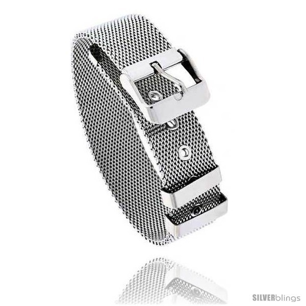 Primary image for Stainless Steel Belt Buckle Mesh Bracelet, 7.5 in