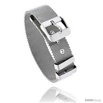 Stainless Steel Belt Buckle Mesh Bracelet, 7.5 in  - $14.72