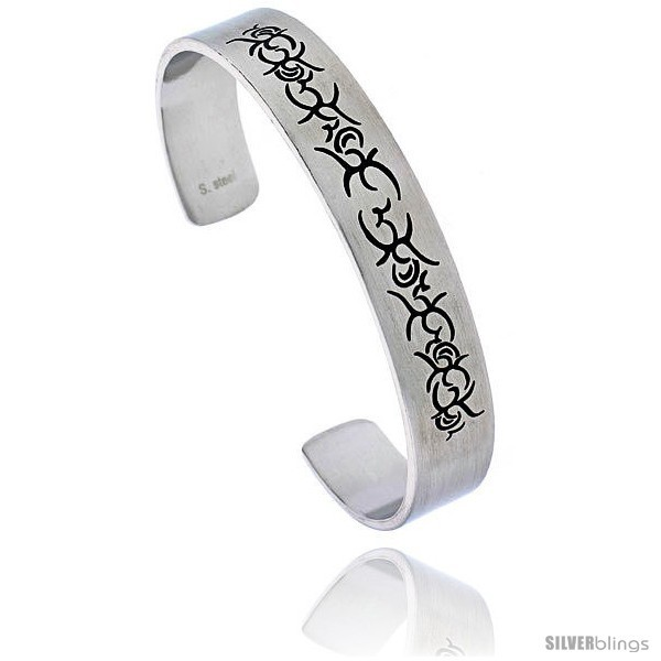 Primary image for Stainless Steel Cuff Bangle Bracelet with Tribal Design, 8 in