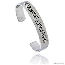 Stainless Steel Cuff Bangle Bracelet with Tribal Design, 8 in  - $13.71