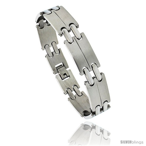Primary image for Stainless Steel Men's Double Bar Link Bracelet, 1/2 in wide, 8