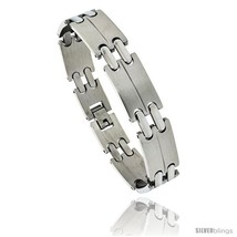 Stainless Steel Men's Double Bar Link Bracelet, 1/2 in wide, 8  - $15.69