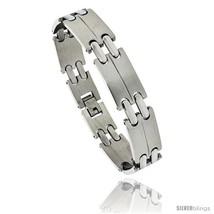 Stainless Steel Men's Double Bar Link Bracelet, 1/2 in wide, 8  - $15.69
