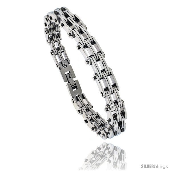 Primary image for Stainless Steel Men's Railroad Link Bracelet, 3/8 in wide, 8.25