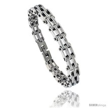 Stainless Steel Men's Railroad Link Bracelet, 3/8 in wide, 8.25  - $20.65