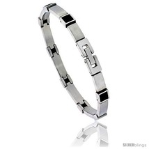 Stainless Steel Men's Bracelet with Black Rubber Accent, 8 in  - $30.90