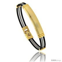 Stainless Steel Identification Cable Bracelet Black and Gold, 7  - $20.65