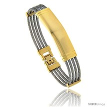 Stainless Steel Cable Bangle ID Bracelet 2-Tone, 7  - $20.65