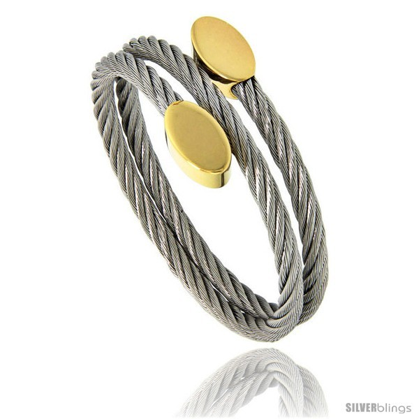 Primary image for Stainless Steel Cable Golf Bracelet Oval Gold-Tone Ends, 7