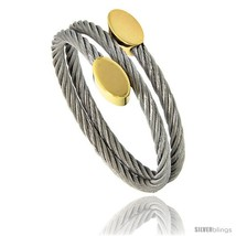 Stainless Steel Cable Golf Bracelet Oval Gold-Tone Ends, 7  - $18.88