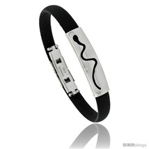 Stainless Steel & Rubber Snake Bracelet, 3/8 in wide, 8 in  - $10.62