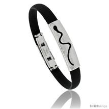 Stainless Steel & Rubber Snake Bracelet, 3/8 in wide, 8 in  - $10.62