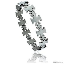 8 1/2 in. Stainless Steel Maltese Cross Bracelet, 5/8 in. (15 mm)  - $24.45