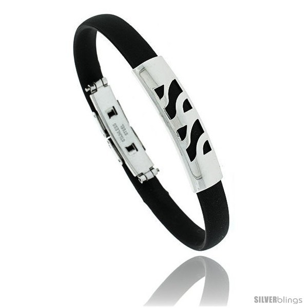 Primary image for Stainless Steel & Rubber Bracelet, 3/8 in wide, 8 in long -Style