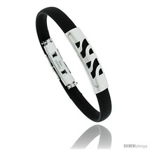 Stainless Steel & Rubber Bracelet, 3/8 in wide, 8 in long -Style  - $10.62