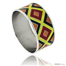Stainless Steel Slip-On Bangle Bracelet Red, Yellow, Black & Orange Enameled  - $32.95