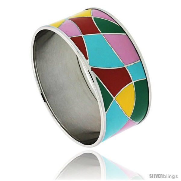 Primary image for Stainless Steel Slip-On Bangle Bracelet Red, Yellow, Blue, Green & Pink