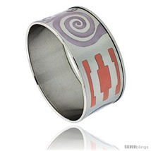 Stainless Steel Slip-On Bangle Bracelet Purple & Orange Enameled Swirl Pattern,  - $32.95