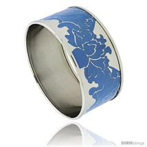 Stainless Steel Slip-On Bangle Bracelet w/ Blue Color Enameled Floral Vine  - $32.95