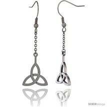 Small Stainless Steel Celtic Triquetra Trinity Dangle Earrings, 2 in (42 mm)  - $9.79
