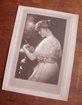 Antique Photograph Introspective Elegantly Dressed Woman Single Rose Sid... - $14.99