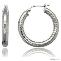 Surgical Steel 1 1/4 in Hoop Earrings Tight Zigzag Embossed Pattern 4 mm tube,  - $20.73
