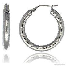 Surgical Steel 1 1/4 in Hoop Earrings Zigzag Embossed Pattern 4 mm tube,  - $20.73