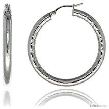 Surgical Steel 1 1/2 in Hoop Earrings Zigzag Embossed Pattern 4 mm tube,  - $20.73