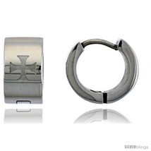 Stainless Steel Huggie Earrings Maltese Cross 1/2 in  - $11.75