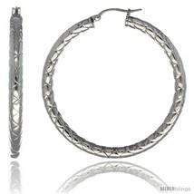 Surgical Steel 2-inch Hoop Earrings Zigzag Embossed Pattern 4 mm tube, feather  - $22.14