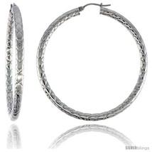 Surgical Steel Tube Hoop Earrings 2 1/4 in Round 4 mm wide Zigzag Pattern,  - $22.04